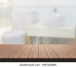 Table Top And Blur Bathroom Of The Background