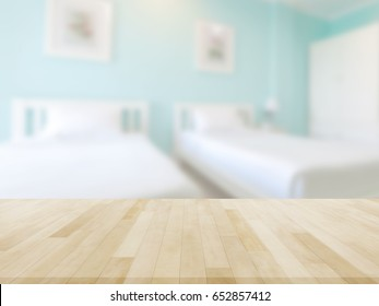 Table Top And Blur bedroom Of The Background