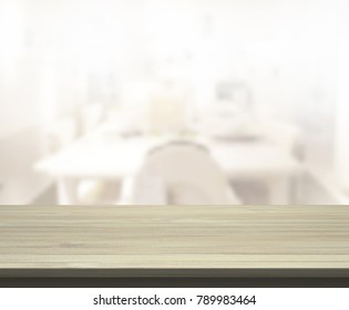 Table Top And Blur Dining Room Of The Background