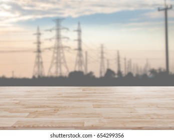 Table Top And Blur Electric Poles Of The Background