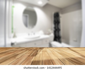 Table Top And Blur Interior of The Background. For montage product display or design key visual layout. - Image