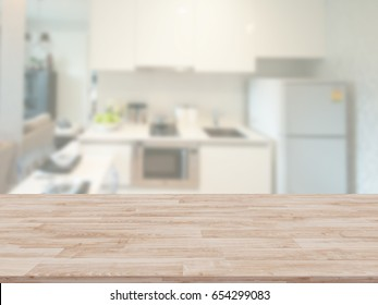 Table Top And Blur kitchen Of The Background