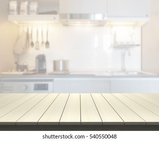 Table Top And Blur Kitchen Room Of The Background