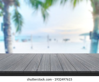 Table Top And Blur Nature For  Background