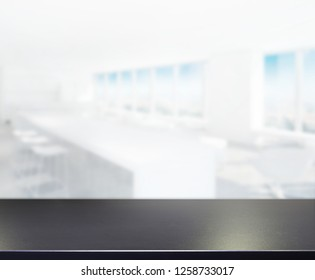 Table Top And Blur Office Of The Background