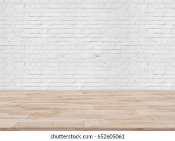 Table Top And Blur white brick wall Of The Background