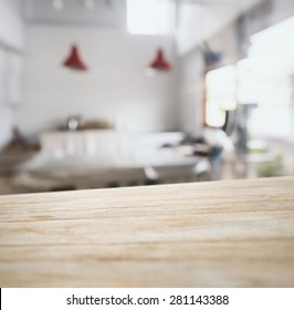 Table top counter bar display with Blurred kitchen Interior background