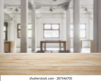 Table top counter bar with Interior Loft space background
