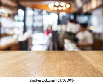 Table top counter with Blur people interior Retail shop background