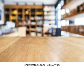 Table top counter with Blur Shelf display interior of Retail shop background