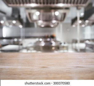 Table top Counter with Blurred Kitchen background