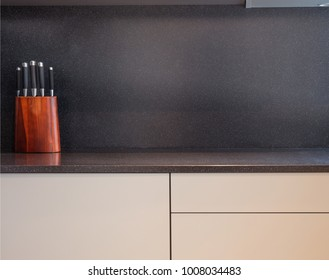 Table top in the kitchen with various accessories. Hotel and apartments interior. High resolution