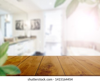Table top on blur kitchen room or bathroom background .For montage product display or design key visual layout. - Image