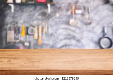 table top on blurred kitchen background