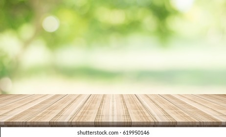 table top on blurred nature background,Space for placing products