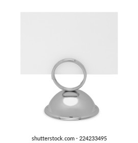 Table Top Reserved Sign Holder and Card Isolated on White Background.