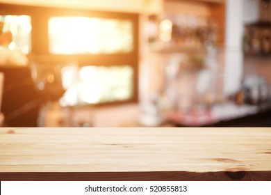 Table top space platform and blurred resturant or coffee shop background for product display montage
