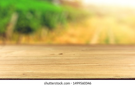 Table top template against vineyard, advert concept