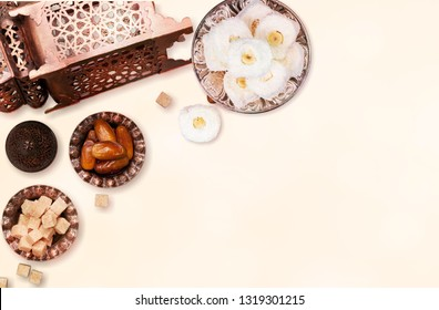 Table top view aerial image of decoration