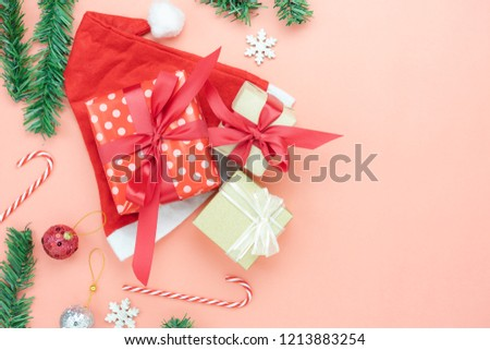 Essential Christmas Decorations.Table Top View Merry Christmas Decorations Stock Photo Edit