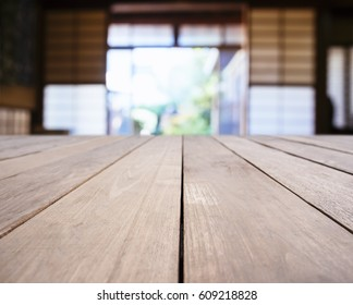 Table top wooden plank counter Blurred Japanese Interior room