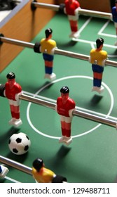 Table toy football with field, players and ball