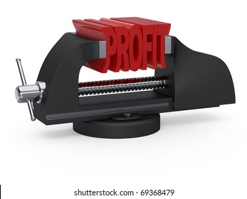 Table vise squeezing word profit on white background