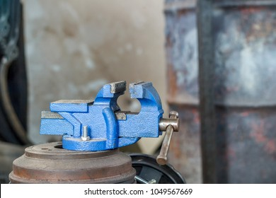 Table vise ,Vise tool in workshop. Tools for industry , vise stand on the table