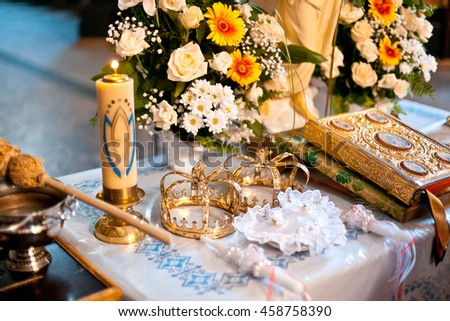 Table Wedding Stuff Stands Church Stock Photo Edit Now 458758390