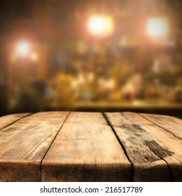 table of wood in pub