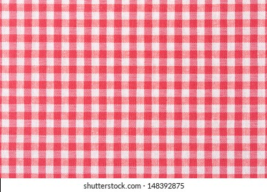 Tablecloth checkered red and white texture background, high detailed