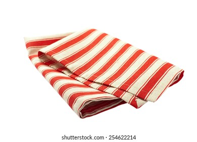 Tablecloth made of linen with red stripes for the dish on a white background isolated