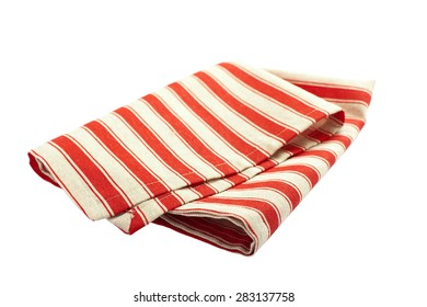 Tablecloth made of linen with red stripes for dish on white background isolated