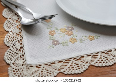 tablecloth napery with flower pattern on table breakfast