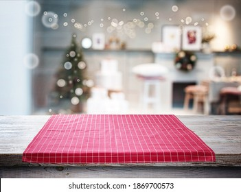 Tablecloth on wooden table and Christmas background mockup.