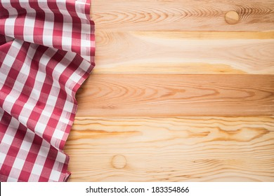 Tablecloth textile on wooden background