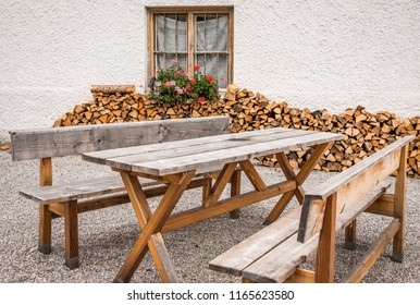 tables and benches at a beergarden