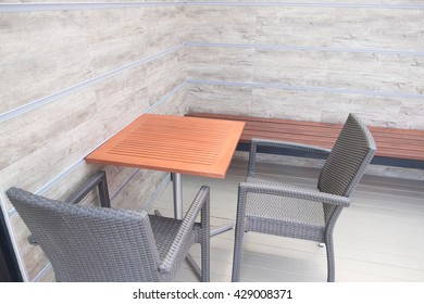 Tables And Chair In Empty Cafe, restaurant, fast food and coffee shop