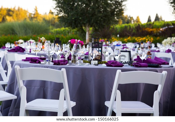 Tables Chairs Decor Decorations Wedding Reception Stock Photo