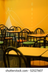 The tables and chairs of fast food store
