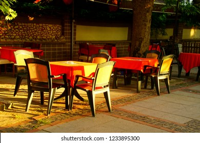 Tables and chairs of an outdoor restaurant in Edirne, Turkey