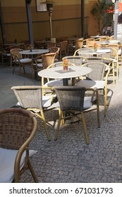Tables and chairs outdoors at a restaurant,  Prague, Czech Republic