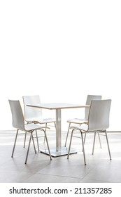 tables and chairs set on floor isolated on white background