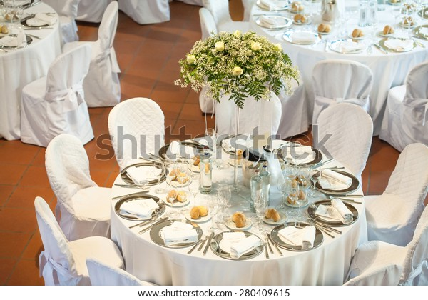 Tables Decorated Party Wedding Reception Stock Photo (Edit Now ...