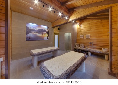 Tables in hammam from a small tile with wooden ceilings