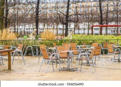 Tables in an open cafe in the park of Paris. Luxembourg Garden