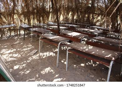 Tables in a school class in Kachiouane, Senegal
