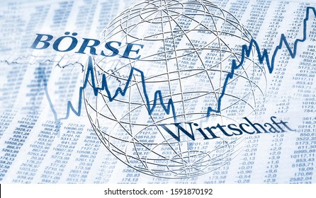 """Tables with stock prices and charts and the german words """"Börse"""" for  stock exchange and  """"Wirtschaft"""" for economy"""