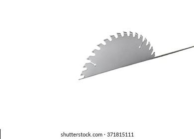Tablesaw Blade Cutting Through White