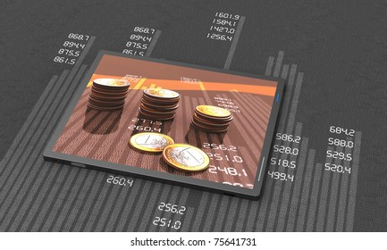 Tablet with bar chart  and coins